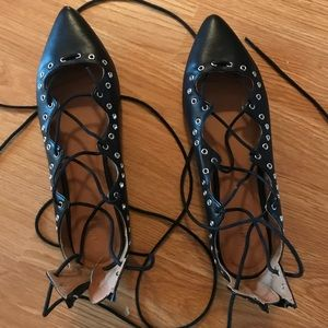 Lace Up Studded Flats